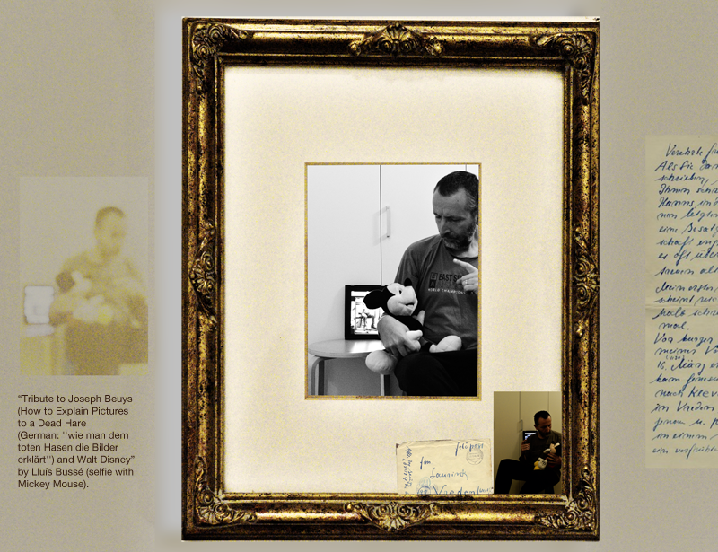 Tribute to Joseph Beuys (How to Explain Pictures  to a Dead Hare) - selfie with Mickey Mouse